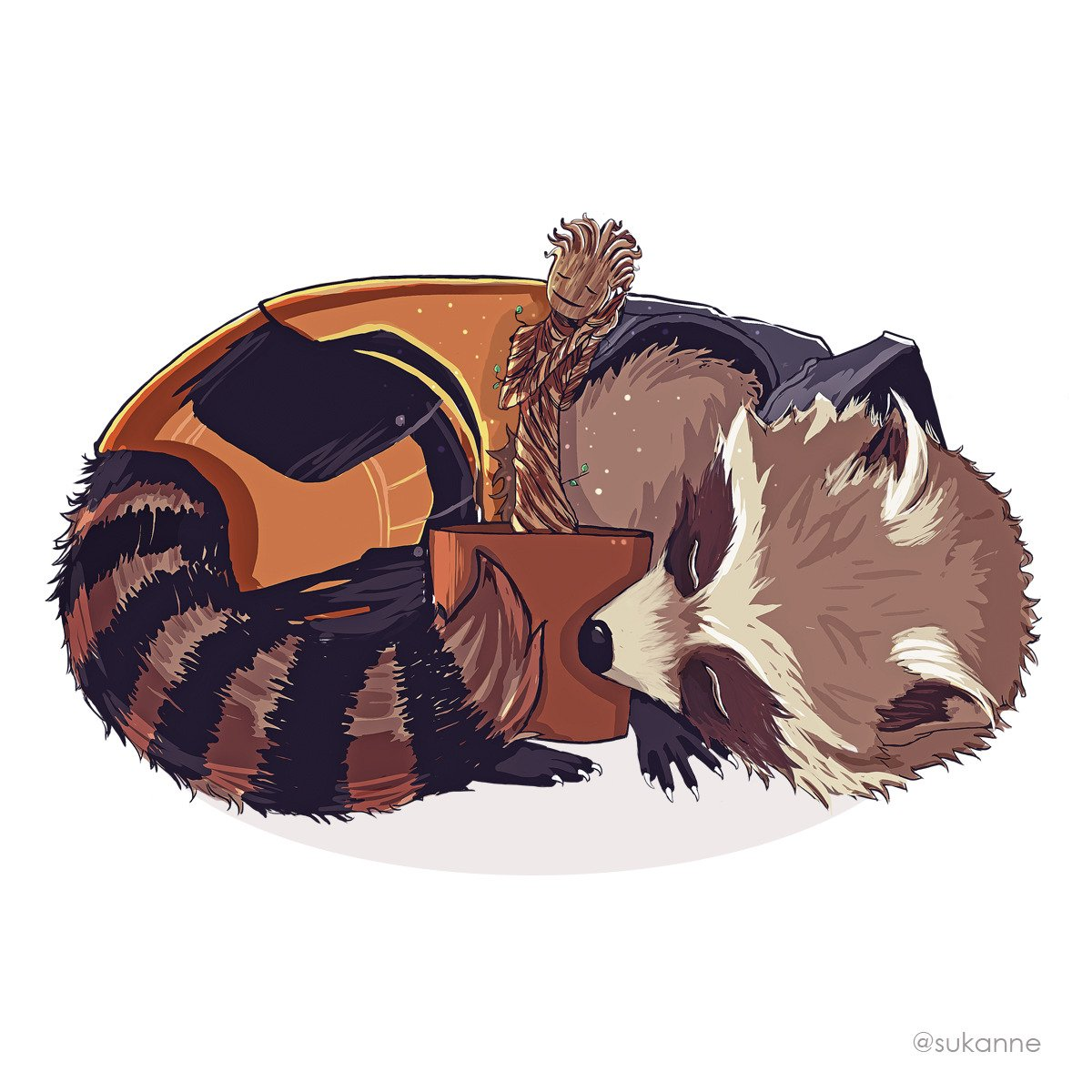 Groot night- #FanArt This one I did for my boyfriend who loves these two♡     http:// Instagram.com/sukanne/  &nbsp;   ~   #groot#iamgroot#wearegroot #artistartwork#draw#digitalart #art #rocketracoon#raccoon #procrate<br>http://pic.twitter.com/rVBXVjVvma
