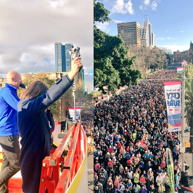 Officially starting the City to Surf – a great event and congrats to everyone participating! @CityRunSeries #city2surf Photo