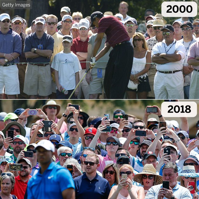 Watching Tiger tee off in 2000 vs. 2018 📸 This is wild. Photo