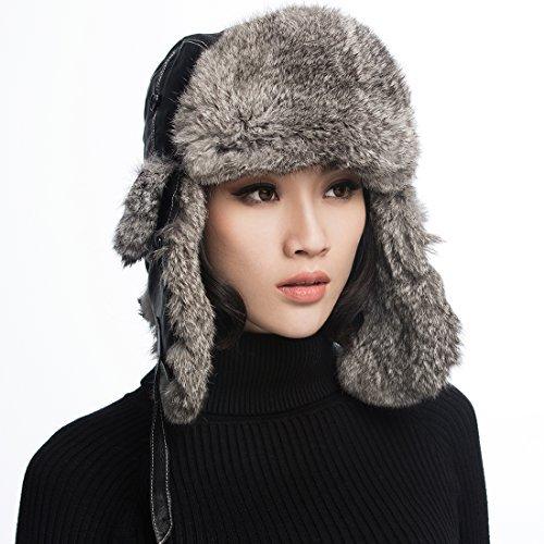 URSFUR Rabbit Fur Aviator Hat Women Black Leather Winter Bomber Cap Russian  on Play Market https   play.google.com store apps details id com.topshop … 90b2589fa8d