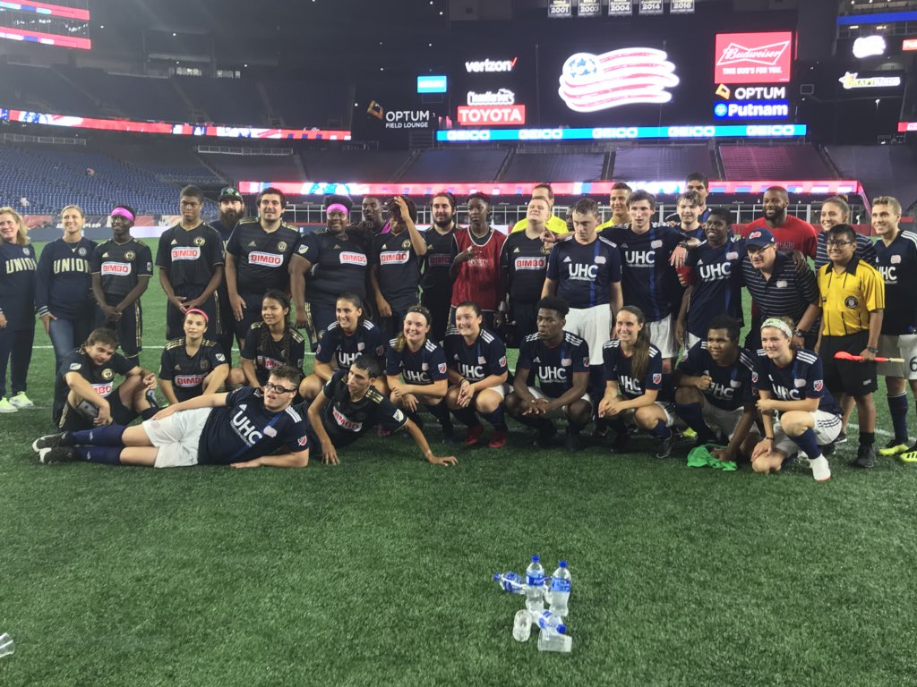 Congrats to all of these amazing athletes on a great Unified Match tonight! We are proud of you all, @SpOlympicsMA and @SpecialOlympiPA! #PlayUnifiedMLS #ChooseToInclude <br>http://pic.twitter.com/IVIEOz86j4