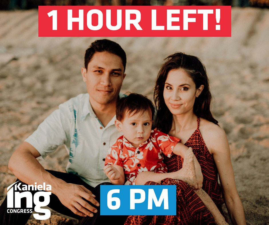The last hour. You can still do three things.   1. Vote, find your polling place:  https:// olvr.hawaii.gov/altpollingplac esearch.aspx &nbsp; …  2. Make calls:  https:// justicedialer.com/candidate/kani ela-ing &nbsp; …  3. Power it all:  http:// bit.ly/Give2TeamIng  &nbsp;     #FightForAloha <br>http://pic.twitter.com/uMBYrebBPX
