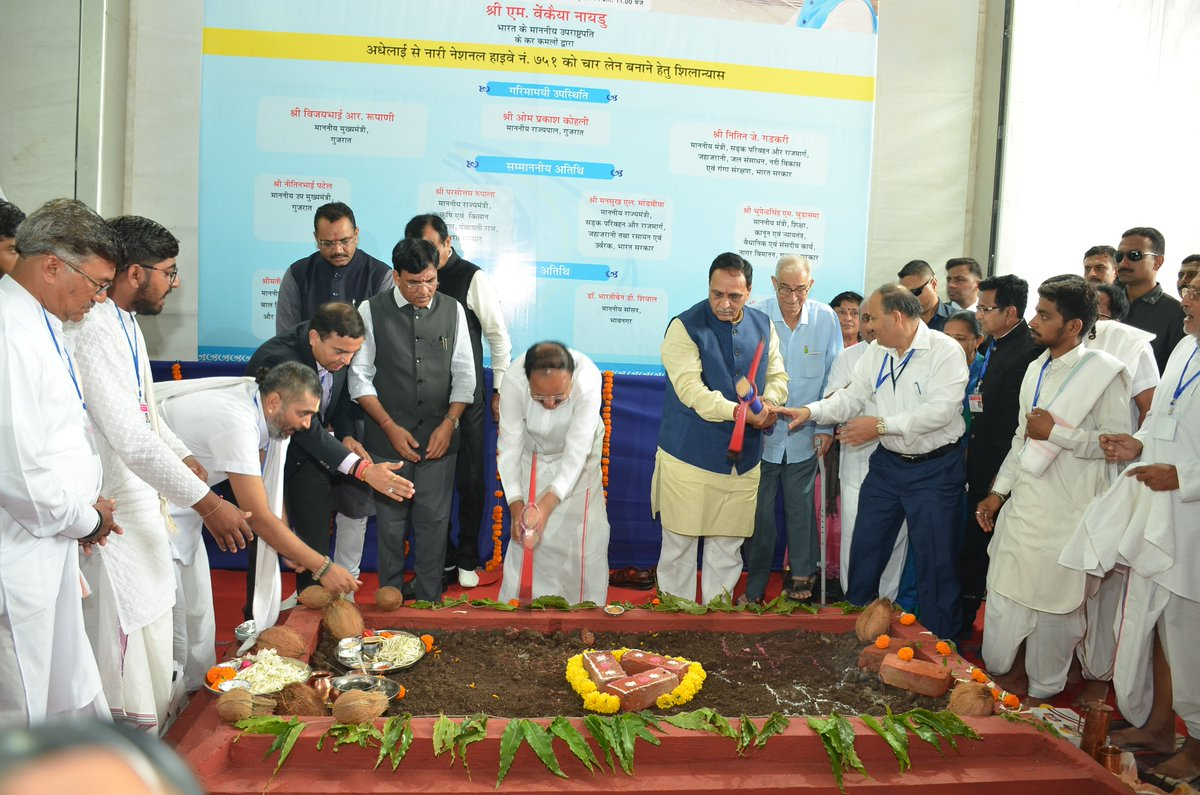 Bhoomi poojan performed for Rs 820 crore Nari – Adhelai four lane highway on Bhavnagar – Dholera route