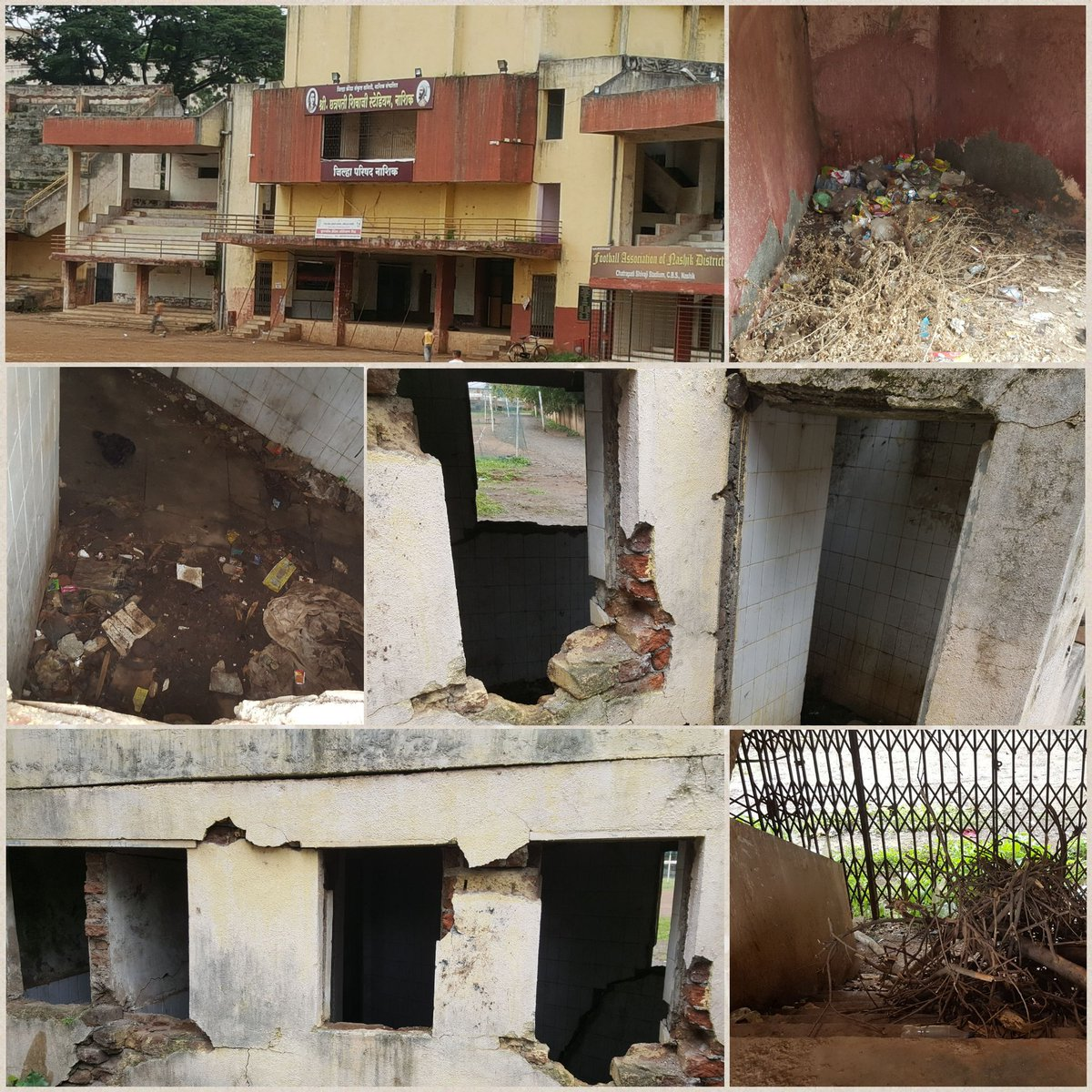Condition of the Chatrapati Shivaji stadium Nashik..here we nurture our young athletes and expect them to bring Olympic medals. #SmartCities @Tukaram_Indias @dionashik @NashikNews<br>http://pic.twitter.com/vrmrkAnxK5