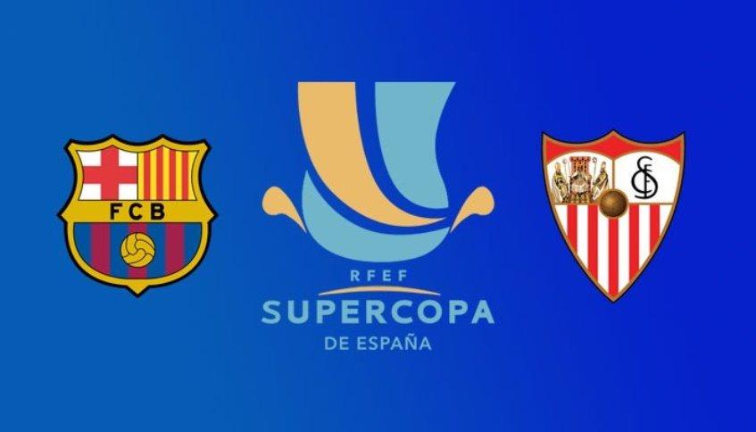Esta noche  se juega el primer titulo oficial de la temporada de España:  Tonight the first official trophy of the spanish season is played:  ⚽️@SevillaFC vs @FCBarcelona  🕙22:00 CET 🏟️Tanger https://t.co/TgNkkvkpRi