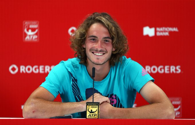 Every reason to smile. @StefTsitsipas created ATP history as the youngest man to beat four top-10 players. Today he turns 20 years old, celebrating with the @rogerscup final against Rafael Nadal. Happy birthday Stefanos 🎂 Photo