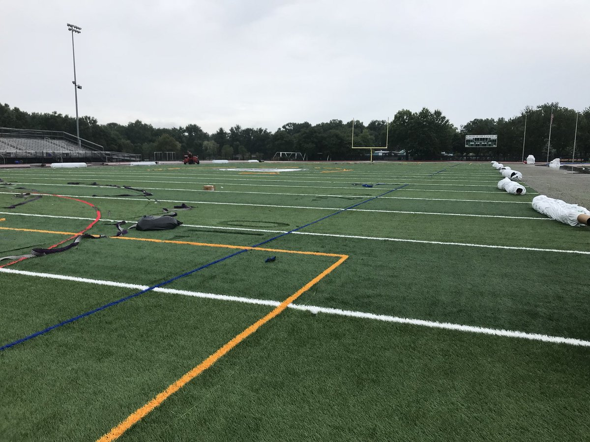 The new turf on Allen Jacobson Memorial Field is starting to take shape. #LancerPride<br>http://pic.twitter.com/GeWnqEc4n1