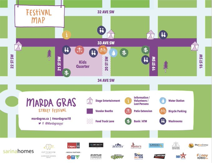 Going us for #mardagras18 today? Use this handy map to find your way around the festival! Photo