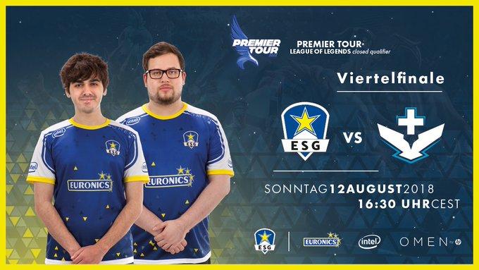 Gegen 16:30 Uhr spielen wir im Viertelfinale der #PremierTour gegen @SPGesports, nicht verpassen! #ESGWIN 👊 📺 - Foto