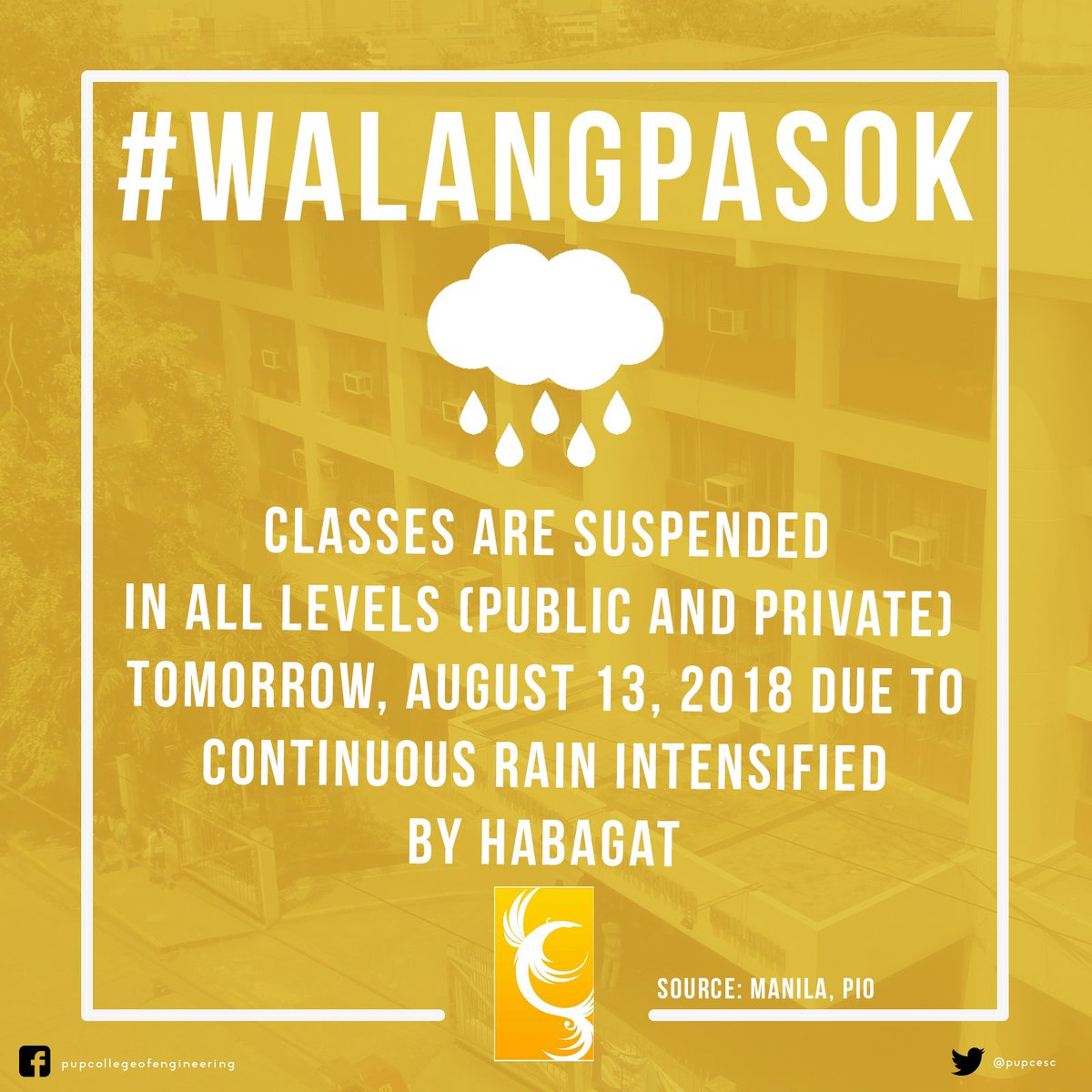 JUST IN: Classes in All Levels tomorrow (August 12, 2018) are now suspended due to continous downpour brought by Habagat. Stay safe mga ka-CEAns! (Source: Manila PIO) <br>http://pic.twitter.com/ou8mjtRnCv