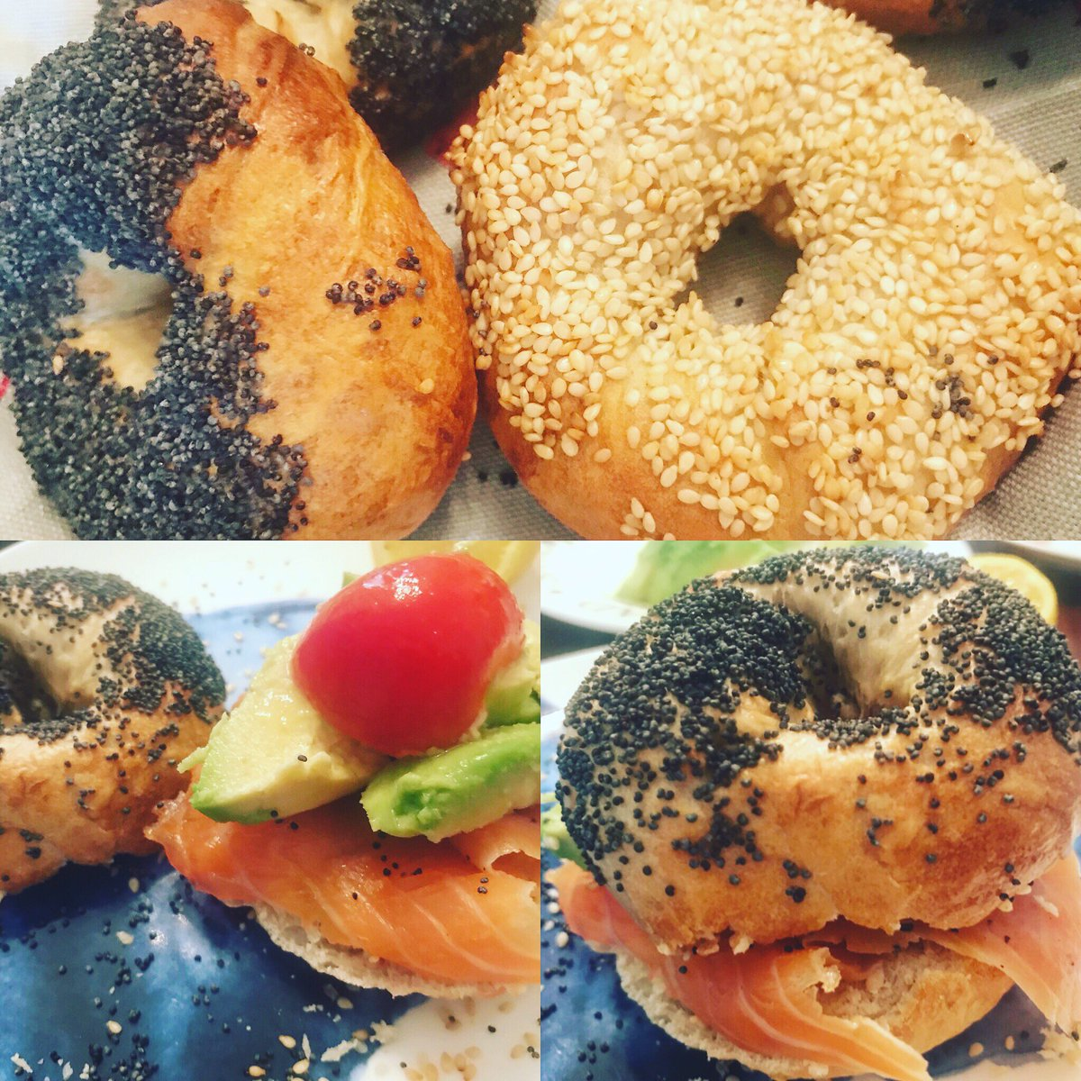 Homemade bagels for breakfast, smoked salmon, avocado, tomatoes, yummy! #homemadecooking #breakfast #bagels #yummy https://t.co/ZdD1XfwL1V