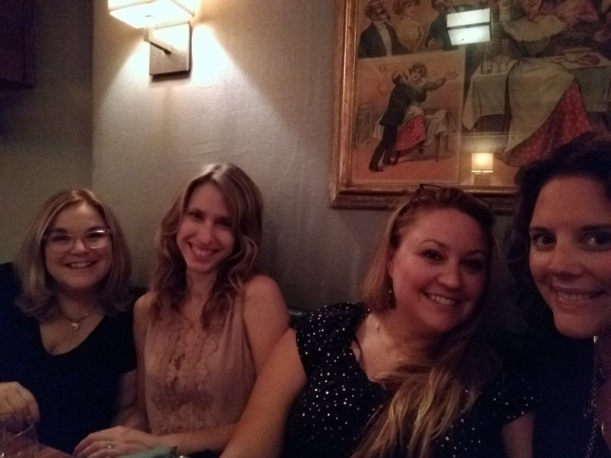 Such a fun night catching up with my @TallPoppyWriter tribe! Wish we could do this in person WAY more often.  @AmySueNathan @KateMoretti1 @msheatherwebb #WDC18 <br>http://pic.twitter.com/QlyfP4hNYx
