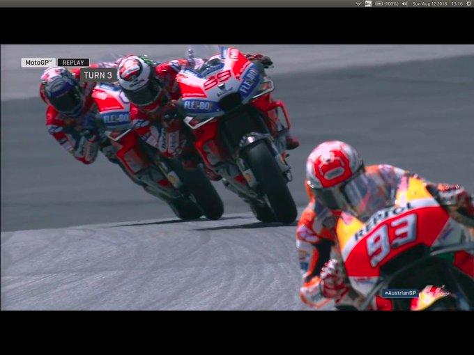 17 laps to go. #AustrianGP #MotoGP. MAQ - / / staying the same gap - LOR - DOV - CRU - PET - RIN - RAB - ROS - ESA - PED Photo