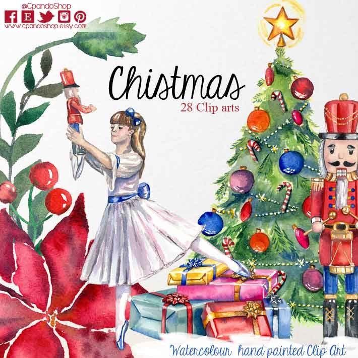 Nutcracker Christmas Tree Clipart.Cpando Shop On Twitter Christmas Cliparts Watercolor