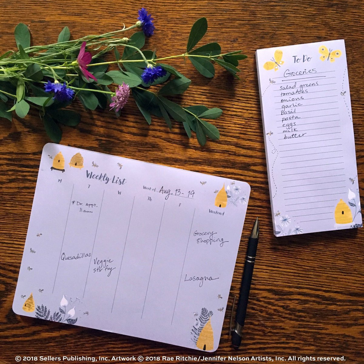 Our High Note® to-do & list pads are great for tackling weekly planning. This pair is from our Garden Bee collection by Rae Ritchie/Jennifer Nelson Artists, Inc. #nationalhoneybeeday #sellerspublishing #highnotecollection #stationery #stationeryset #honeybees #bees #raeritchie