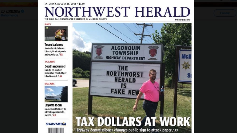 Local official under fire for using government billboard to attack newspaper as 'fake news' https://t.co/jlVFkYSNC7 https://t.co/3I4rrXZbJO