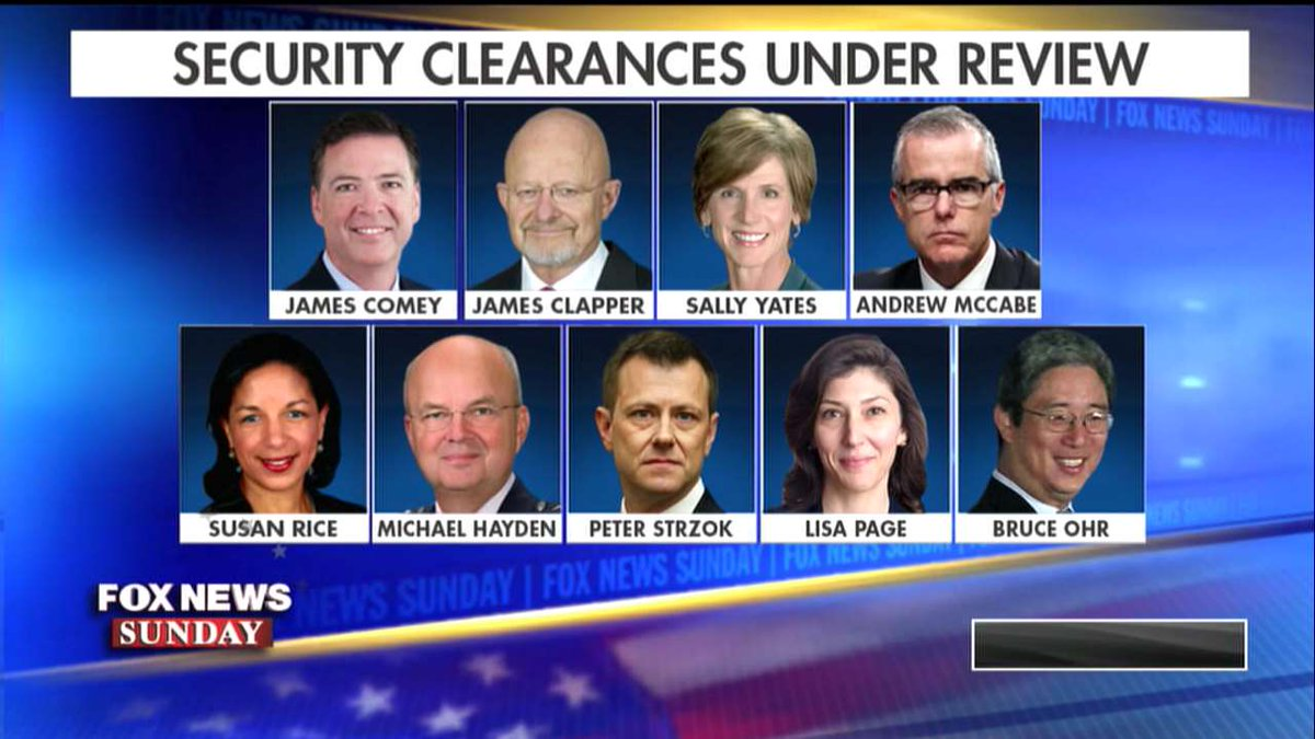 Security clearances under review. #FoxNewsSunday