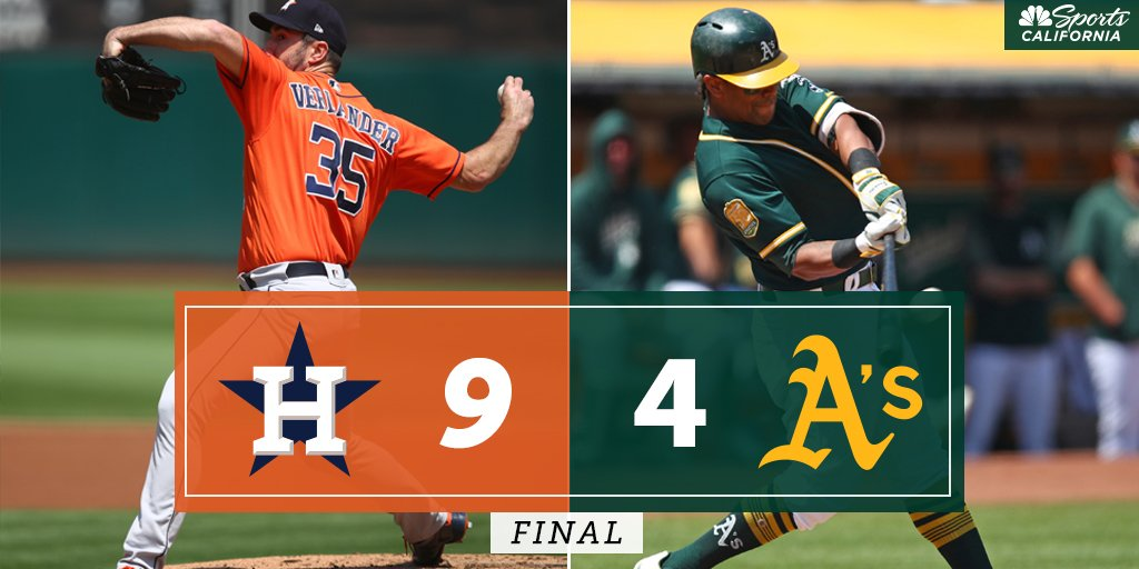 FINAL: @Astros 9, @Athletics 4 -- Watch Postgame Live NOW on NBC Sports California and streaming on the @NBCSportsApp bit.ly/2vSEBQ6