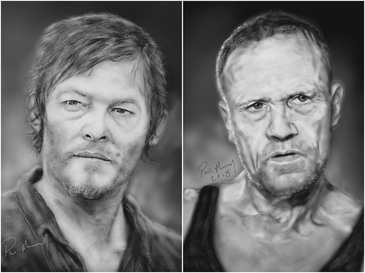 My drawings of the Dixon brothers together!  Would loved to of seen more of a back story with these two! How about a spin off show @WalkingDead_AMC?  @wwwbigbaldhead #fanart #TWDFamily #TheWalkingDead<br>http://pic.twitter.com/kua7MSeXnA