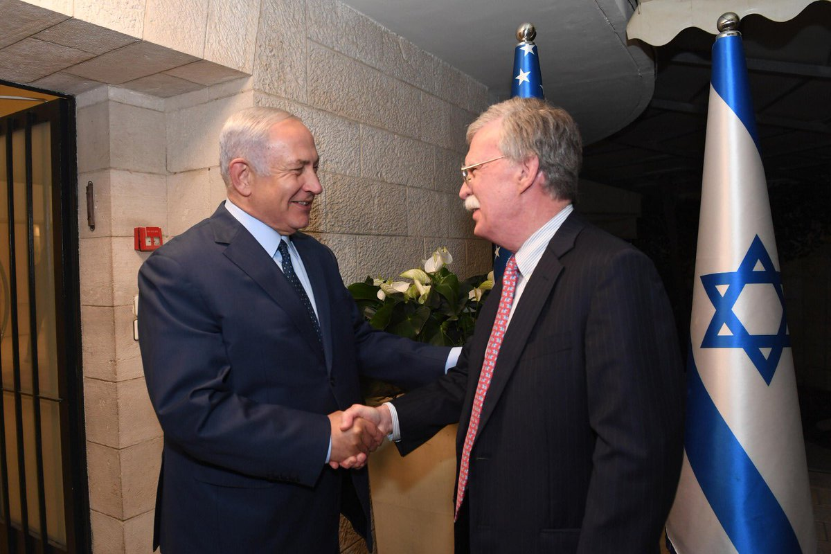 An important meeting with US National Security Adviser @AmbJohnBolton. John and I have been friends for many years. He is a true friend of Israel and a champion of the US-Israel alliance. Welcome to Jerusalem! 🇮🇱🇺🇸