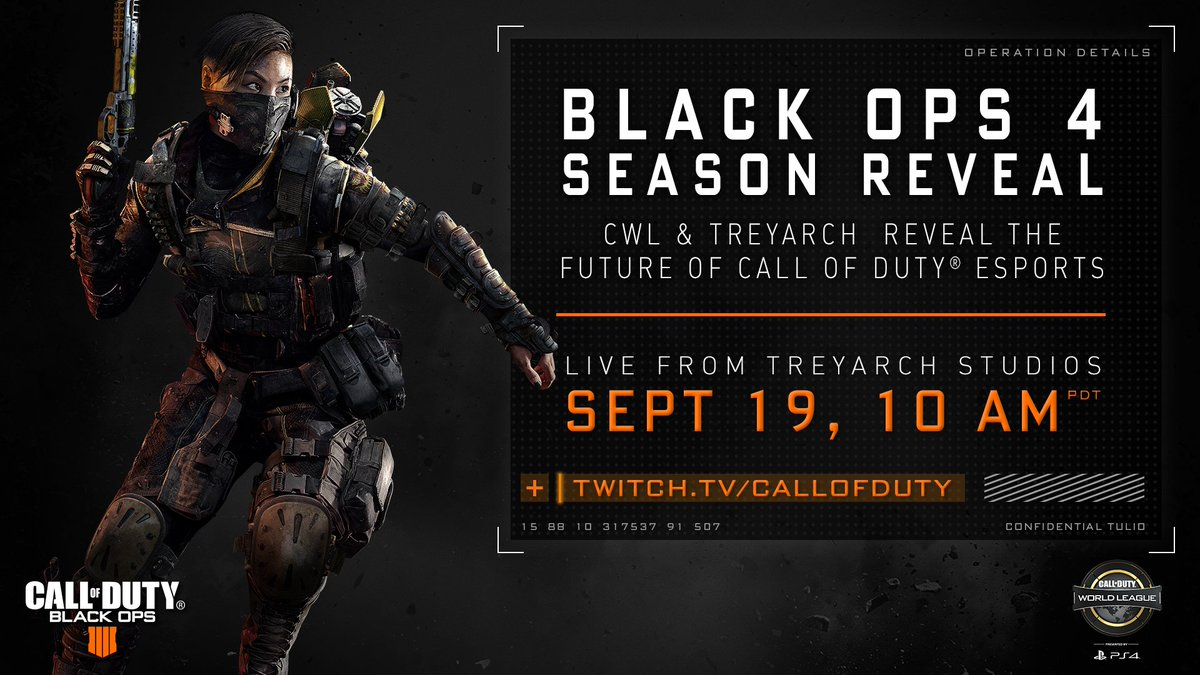 ANNOUNCEMENT: Tune in September 19 to the #BlackOps4 @CODWorldLeague Season Reveal, live from @Treyarch Studios!