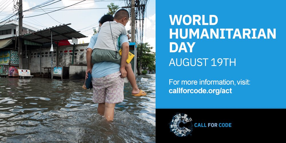 Lets support people affected by Natural Disasters with #CallforCode and use technology for good on #WorldHumanitarianDay!! Show your support for @UNHumanRights & @RedCross in their efforts to help the most vulnerable among us. Get involved at callforcode.org/act :)
