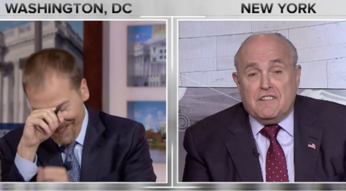 My friend and colleague @chucktodd at the Moment of Truth with @MayorRGiuliani. Hard to tell of Chuck is trying to show that he's laughing or crying — which is one reason why he's the best political reporter, host and anchor on tv.