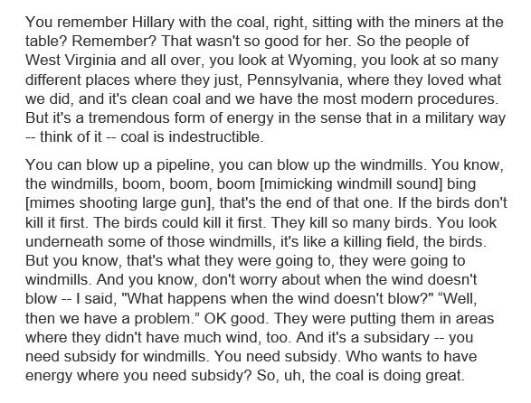 Here's the transcript of Trump's remarks at a New York fundraiser last week about coal and windmills.