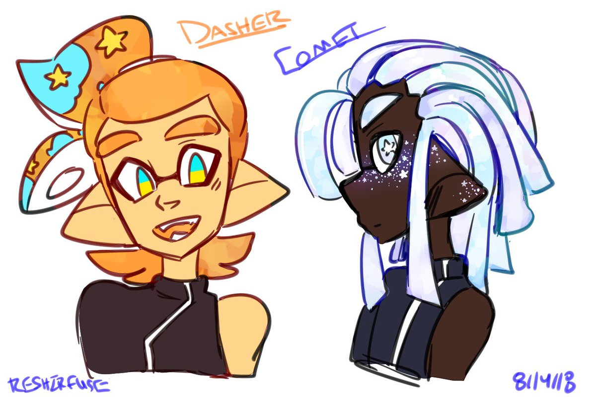 These are a couple of Octo expansion inklings i made to fill a community in Kamabo. (named after reindeer lmao) #splatoon #reshiart