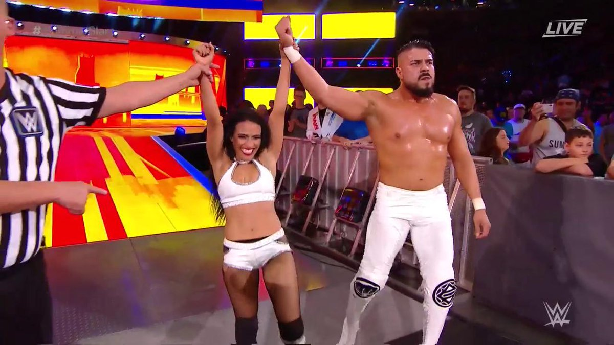The upward trajectory of @AndradeCienWWE & @Zelina_VegaWWE continues with a WIN in this #MixedTag match to kick off #SummerSlam!