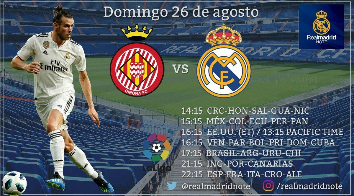 PRÓXIMO PARTIDO ⚽️ Girona 🆚 Real Madrid 📆 Domingo 26 de agosto ⌚️ 22:15 (Esp) 🏆 #LaLiga ➕ Sigan @realmadridnote ¡COMPARTAN CON RT!