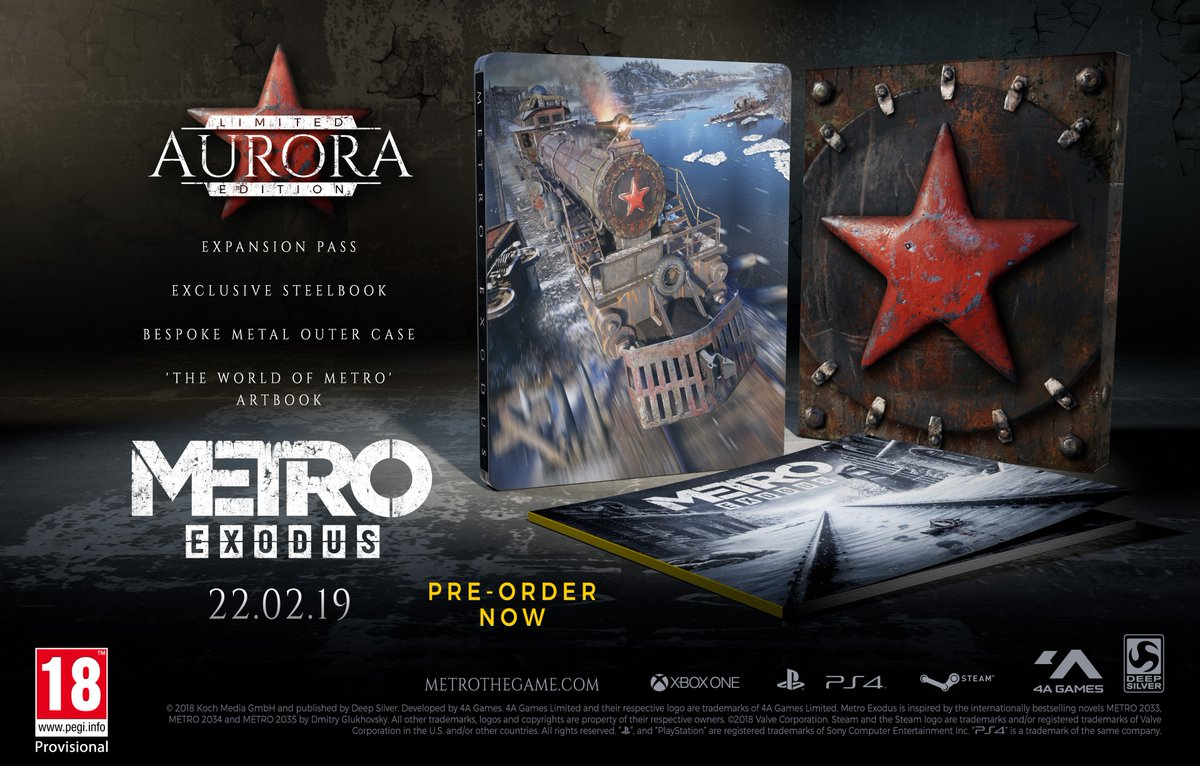 de5e416504 Get your hands on an expansion pass, exclusive steelbook, and World of  Metro art book now when you pre-order the Metro Exodus Aurora Limited  Edition!