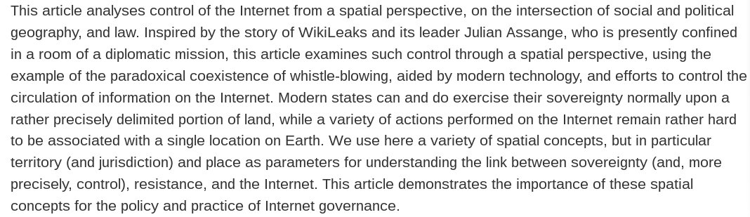 New Paper: The Spacial Bonds of @WikiLeaks https://t.co/8mdv9wjzGL