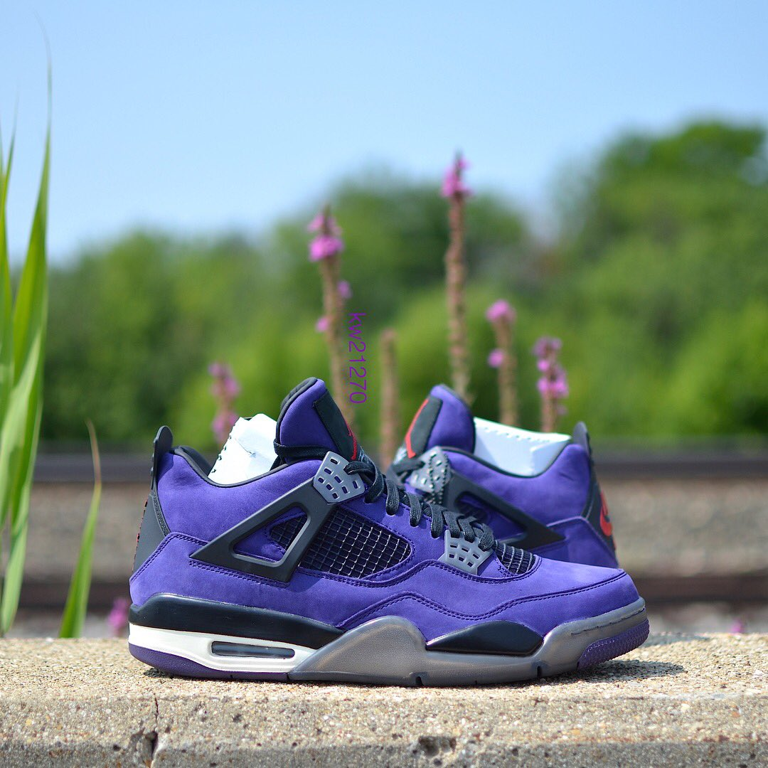 "0cafbaba65b A detailed look at the purple ""Cactus Jack""  travisscott x Air Jordan 4.  📸  kw21270"