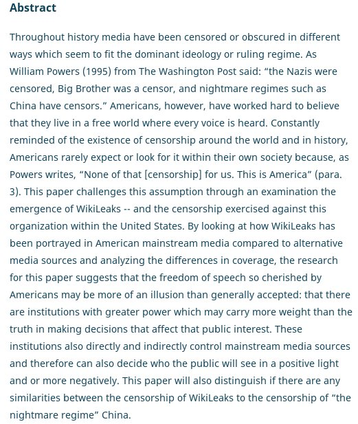 New paper: WikiLeaks and the Censorship of News Media in the U.S. https://t.co/rwhv9Zi5VR