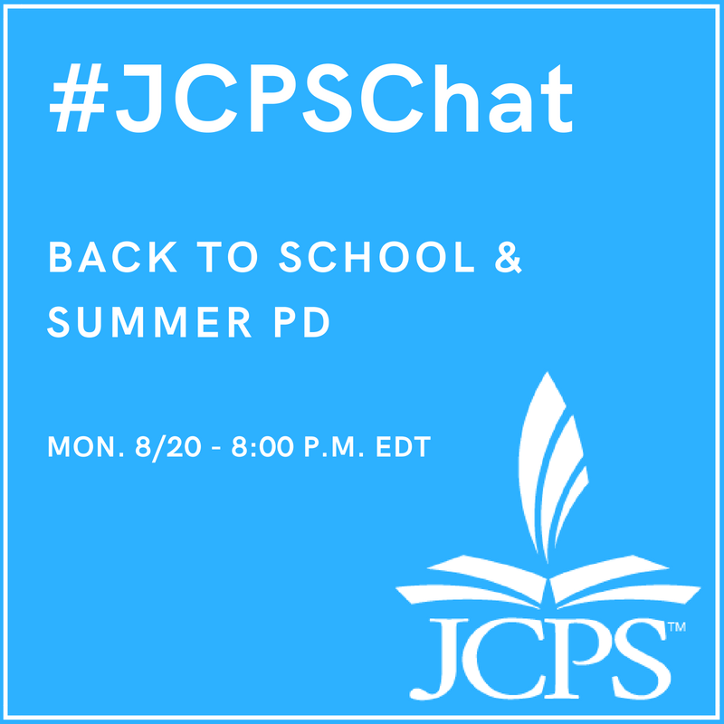 Join us. Tomorrow night. 8:00 p.m. #JCPSChat