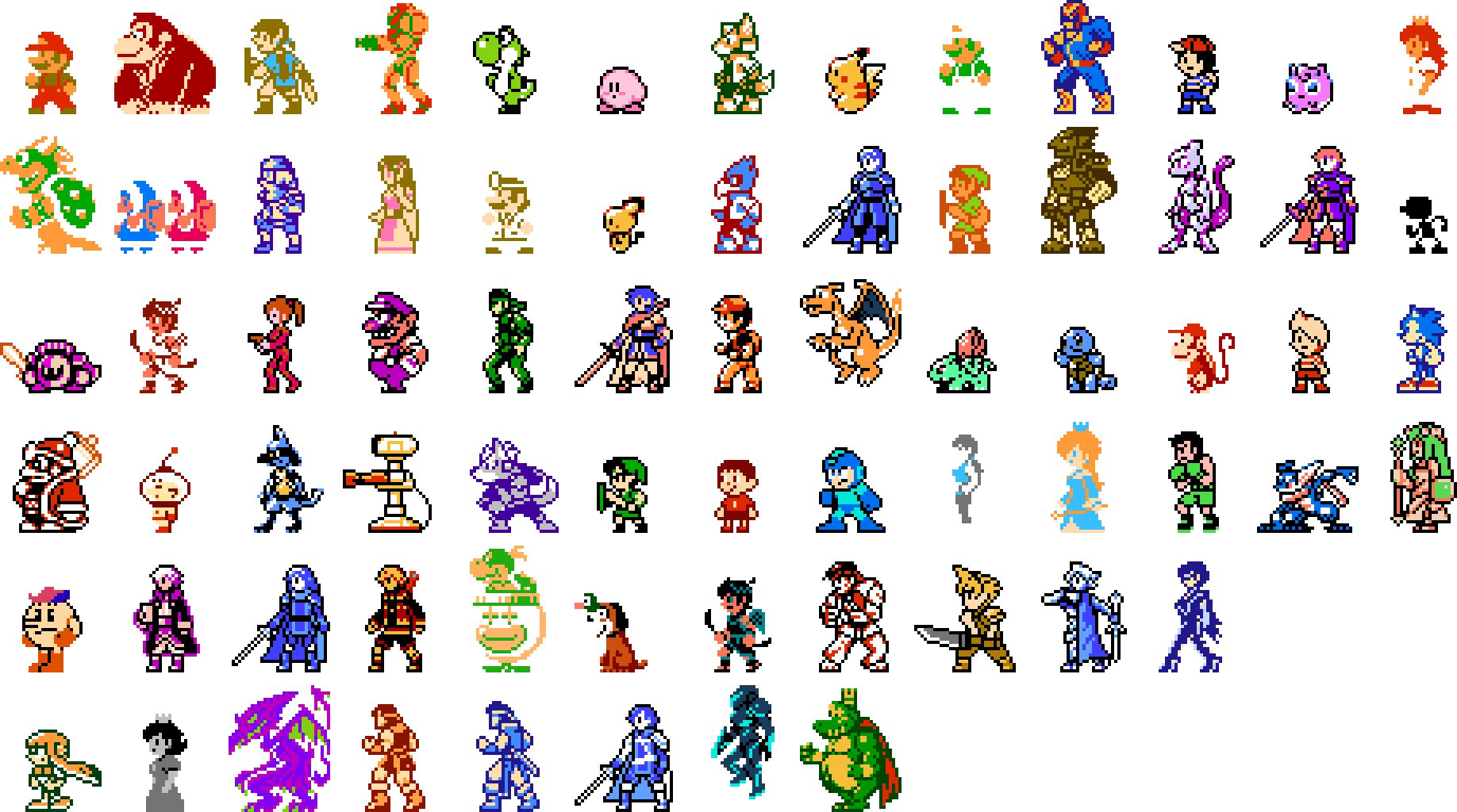 Como Dibujar Los Brawlers De Brawl Star En Hoja Cuadriculada: Retro Pixel Art Of All Of The Super Smash Bros. Ultimate