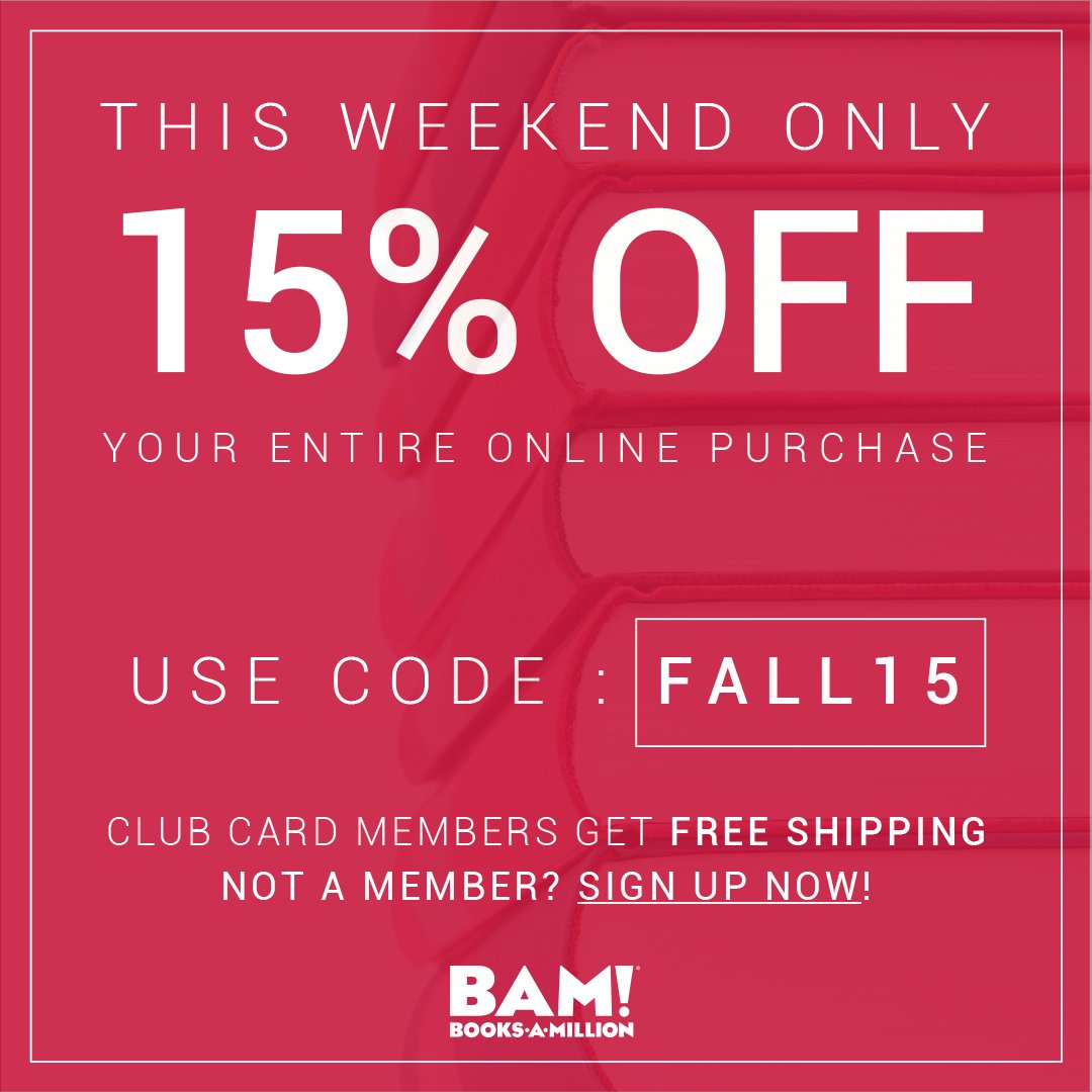 #Today is the last day to #save on your #entire purchase at BooksAMillion.com, use the offer code FALL15 to save 15%.