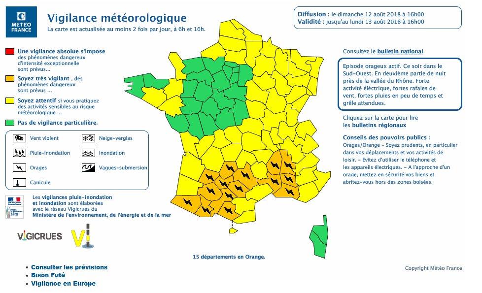 #VigilanceOrange #orage #grêle #inondations  Forts orages sur le nord de l\