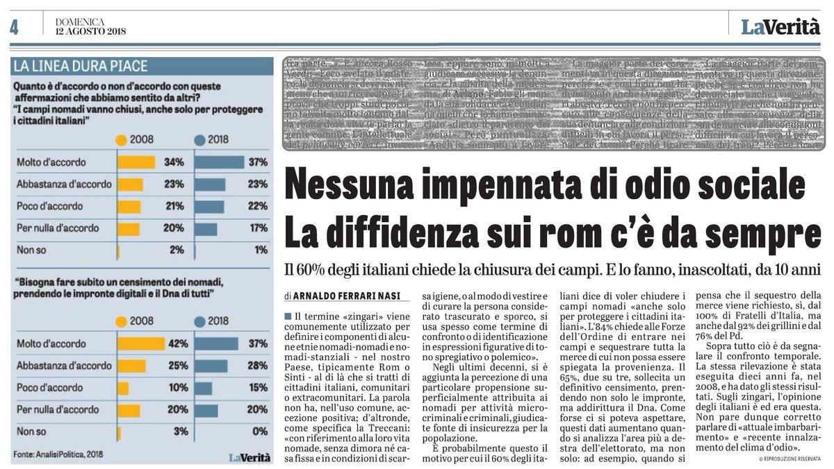 Nessuna impennata di odio, su #Rom #Sinti e #zingari in generale, la diffidenza c\