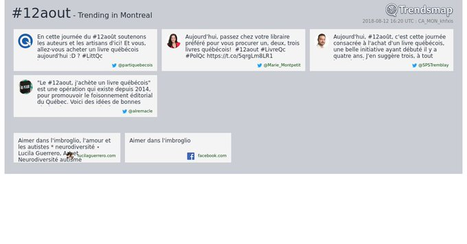 #12aout is now trending in #Montreal Photo