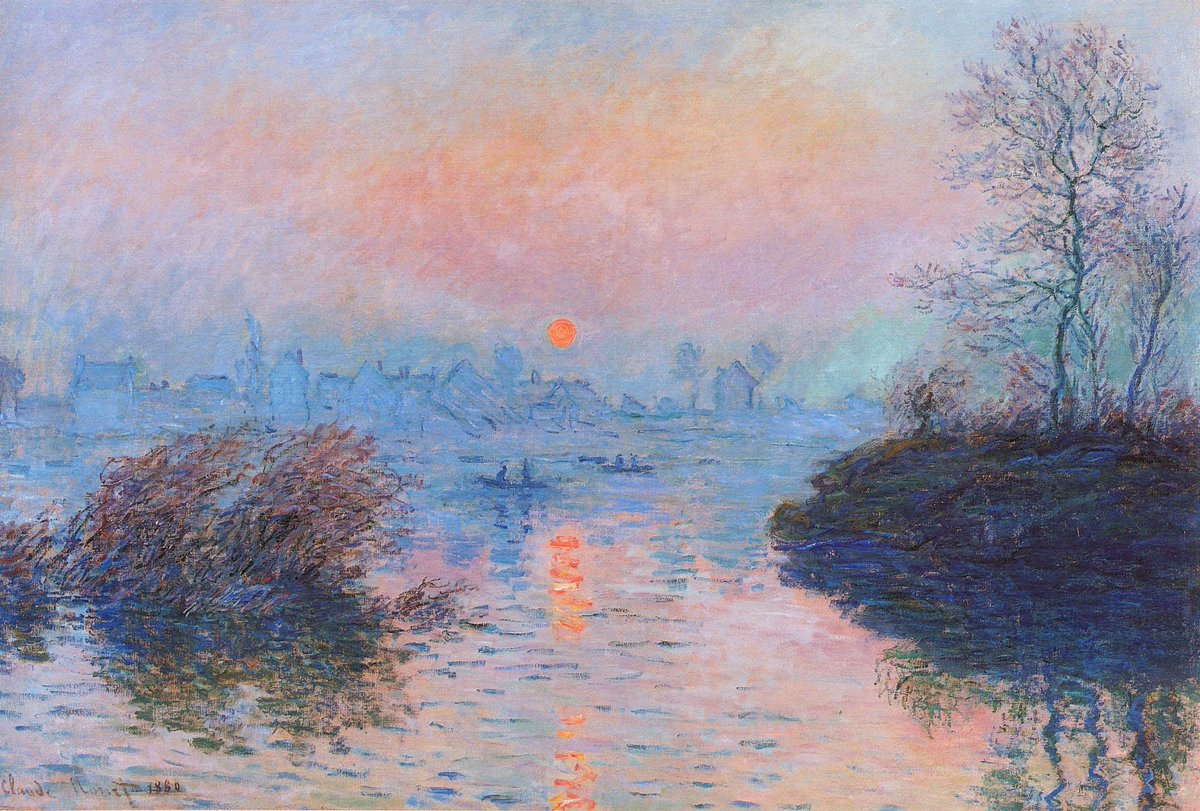 Sunset on the Seine at Lavacourt, Winter Effect #frenchart #impressionism<br>http://pic.twitter.com/kycU2HFb4S