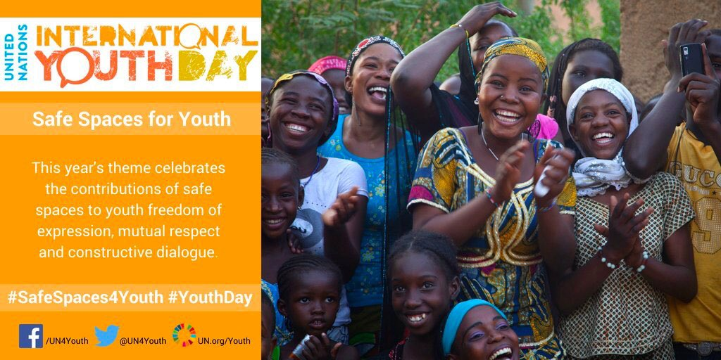 Today #YouthDay focuses on the need for #SafeSpaces4Youth that are readily available & accessible for them. Young people are the present and the future of our world, we need to work for and with them. They are among my main priorities for the 73rd GA.