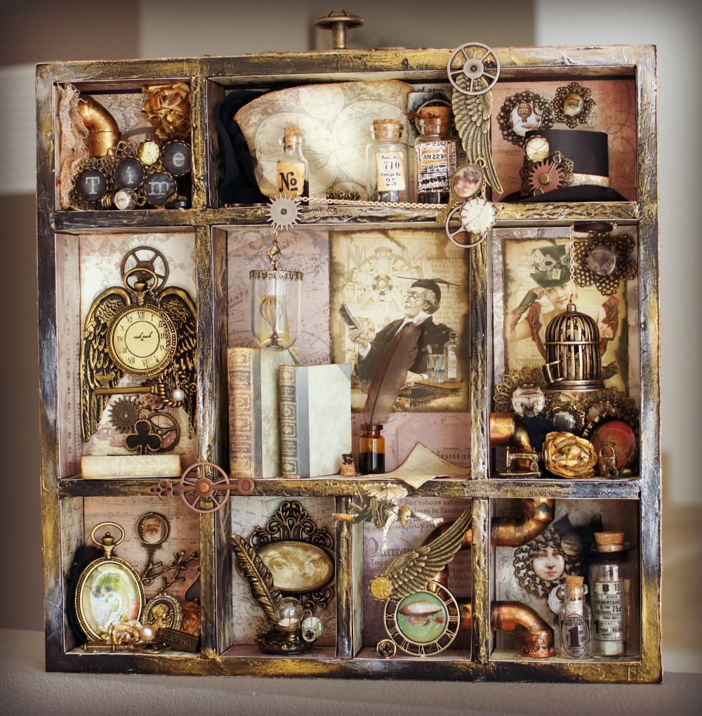 #SundayShadowbox  #Steampunk style A snippet of this and that, photos & trinkets gilded or not, can make for a casually elegant collage. #WhatWillYouCreate @SmartArtBox tips & trends to tempt wit & whimsy.  https://t.co/U1AeLKqGU1   #BeInspired