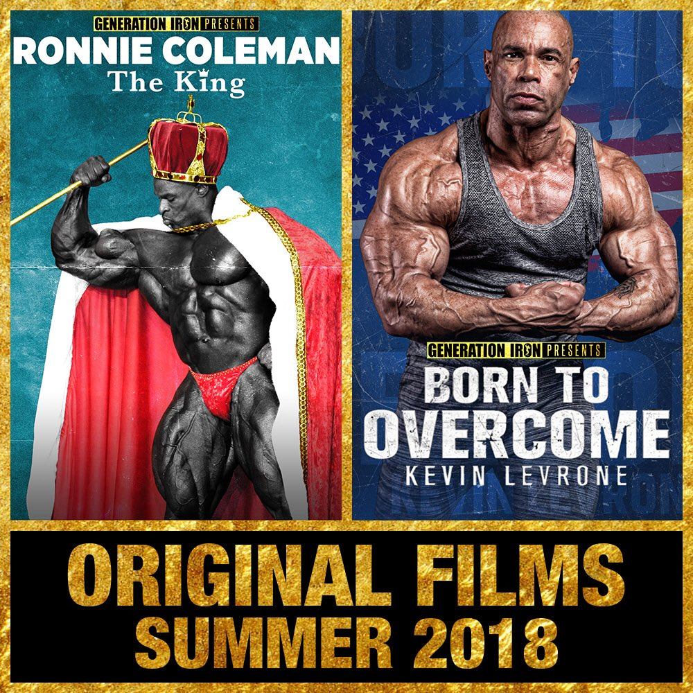 2 movies in 2 months. 1 HOT SUMMER. Make sure to check out Ronnie Coleman's THE KING and Kevin Levrone's BORN TO OVERCOME movies 🎥 👉 generationiron.com/category/watch…