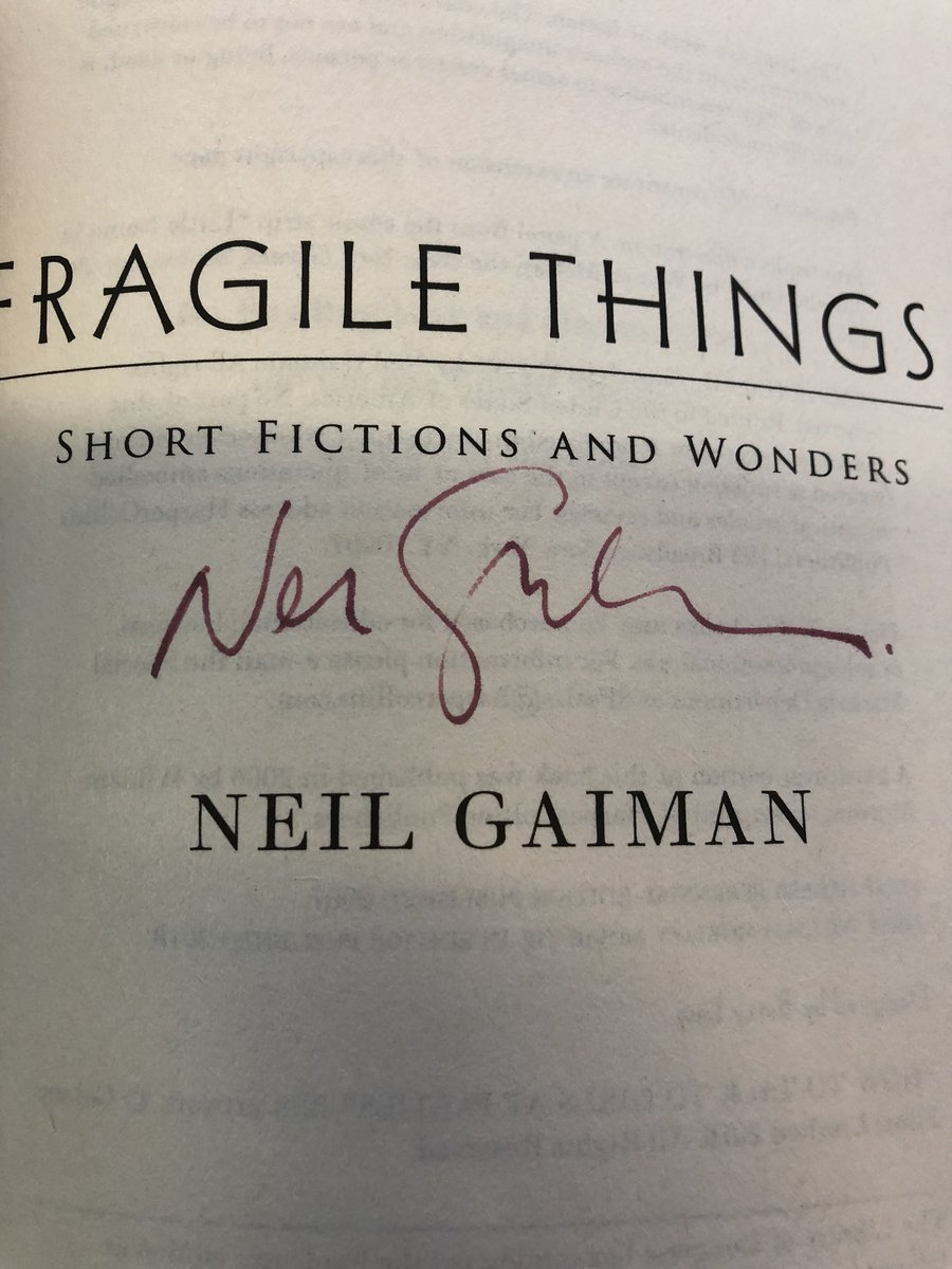 I found a stealth-signed copy of Fragile Things by @neilhimself at JFK while waiting on my flight home from a writer's conference tonight! How cool is that!? #WDC18 Perfect way to end a weekend where I pitched my own book for the first time. <br>http://pic.twitter.com/5CJ2ZBeTjj