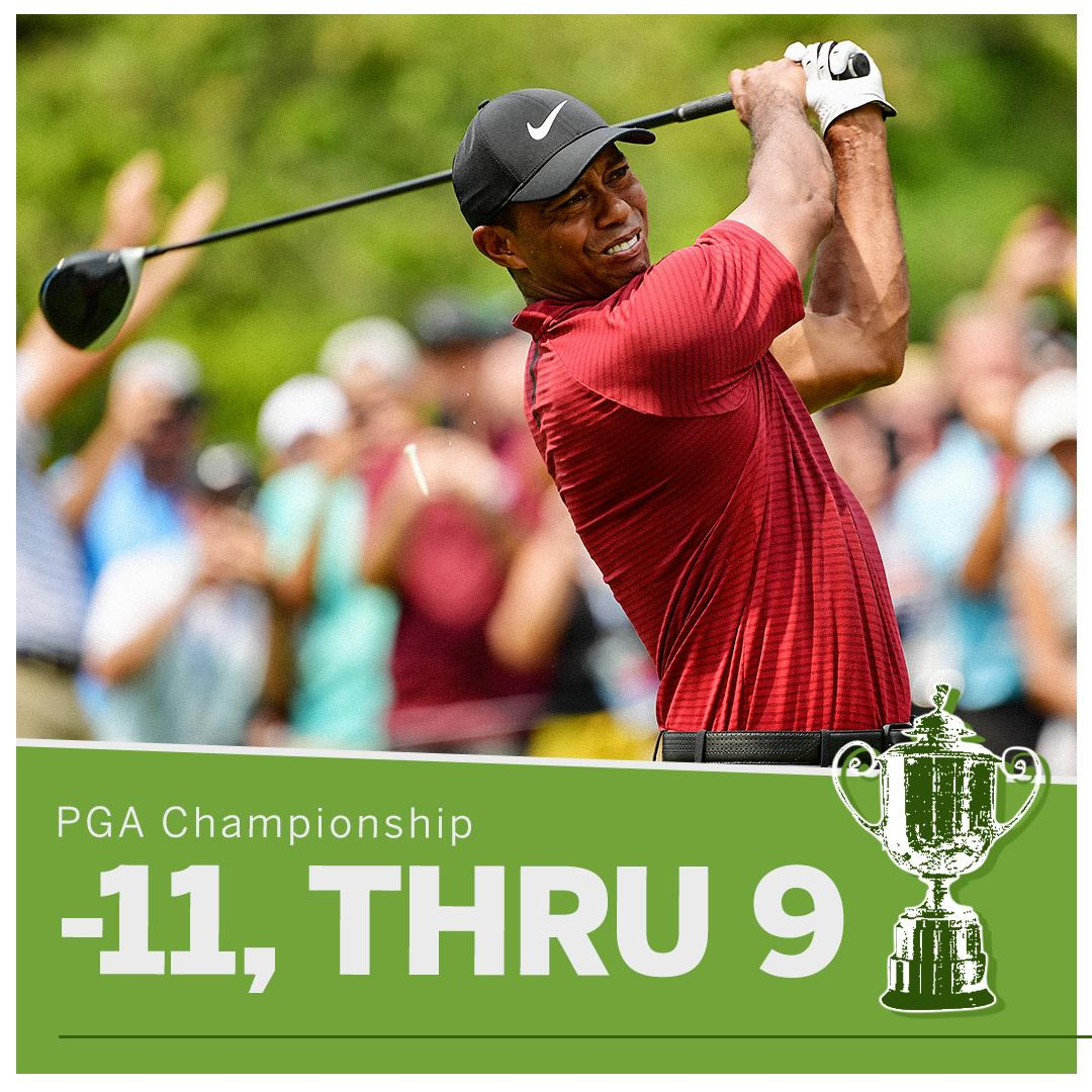 With 9 to go, Tiger is on the prowl �� https://t.co/YXiXc7BlSo