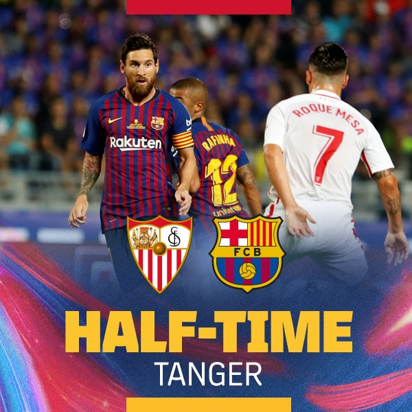 ⏰ Descanso en Tánger ⚽ Sevilla FC 1-1 FC Barcelona 👟 Sarabia / Piqué 🔵🔴 #SupercopaBarça