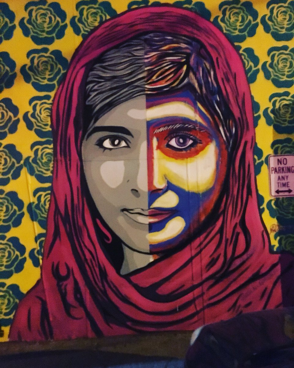 "#MalalaYousafzai #iammalala ""if one man can destroy everything, why can't one girl change it"" #streetart #urbanart #graffitiart #laartdistrict @Malala<br>http://pic.twitter.com/5UqAwfU5BE"
