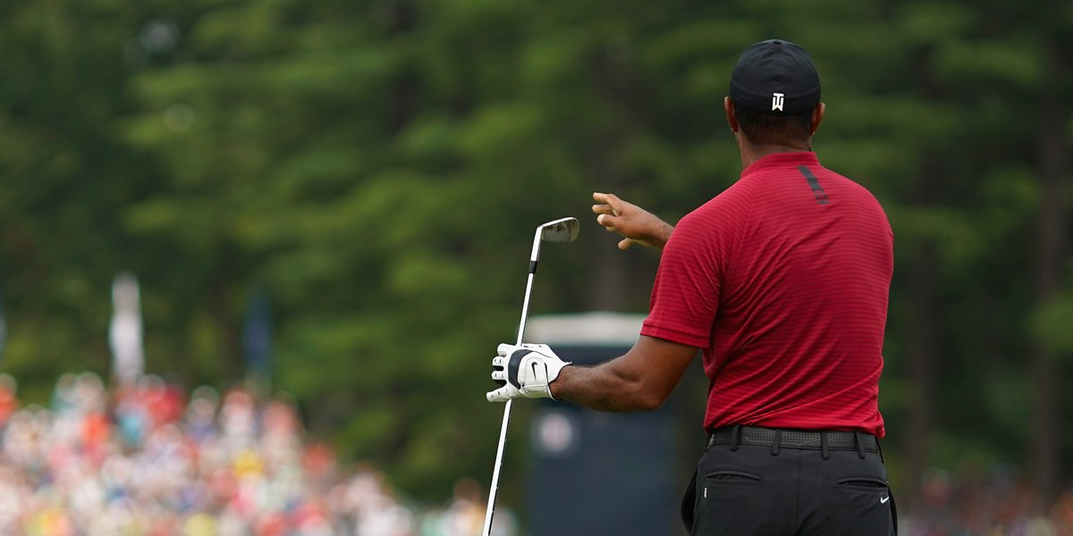 Tiger's Twirlin'. He's one shot back. #TWphase1 #PGAchamp